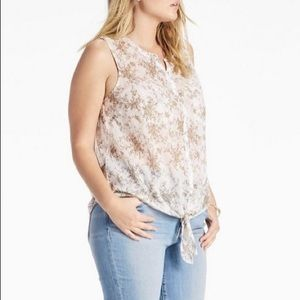 Lucky Brand Sleeveless Tie Front Top